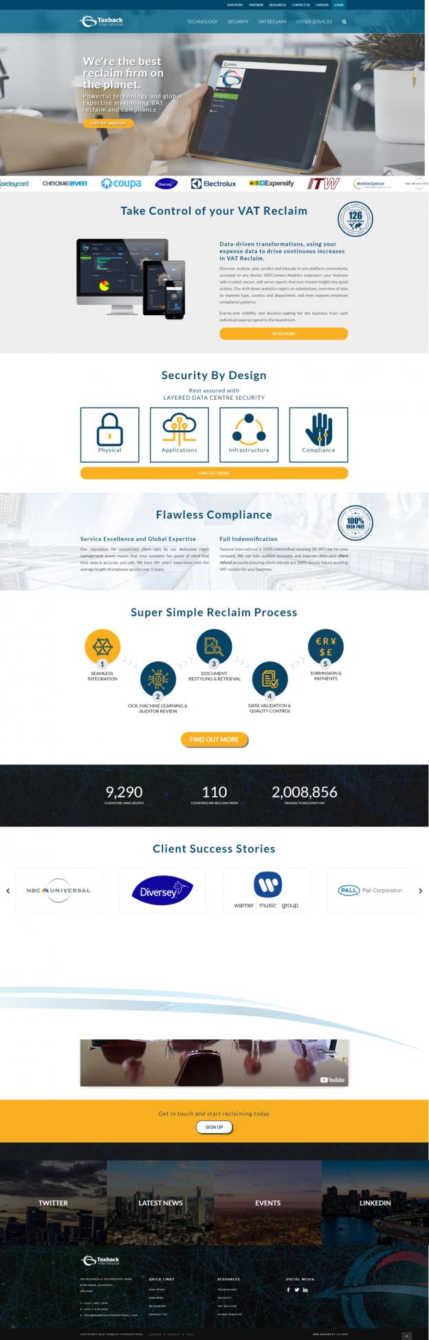 high quality website design taxback website design